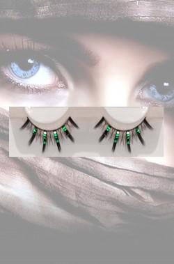 Ciglia finte nere con brillantini verdi