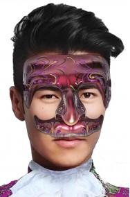 Maschera carnevale veneziano uomo rosso bordeaux con baffo