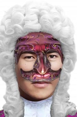 Maschera di carnevale barocco rococo uomo rossa vinaccia