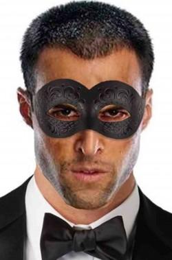 Maschera elegante veneziana nera di plastica effetto pelle