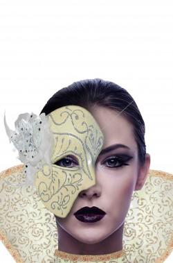 Maschera carnevale fantasma dell'opera con rosa