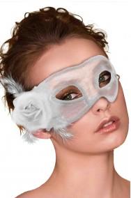 Maschera di carnevale veneziano bianca con fiore