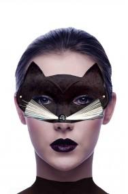 Maschera carnevale gatto nero con baffi