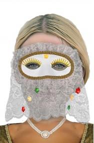 Maschera carnevale veneziana bianca con pizzo