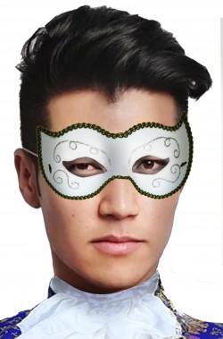 Maschera di carnevale bianca stile veneziano