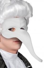 maschera carnevale veneziano bianca nasone zanni