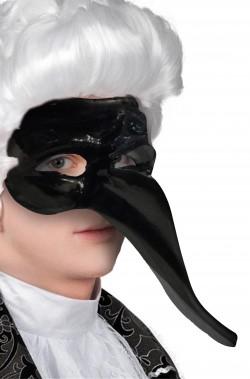 Maschera carnevale veneziano nera naso lungo Pantalone