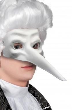 Maschera di carnevale bianca con naso lungo