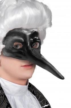 Maschera di carnevale veneziano nera naso lungo zanni