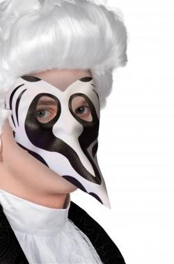 Maschera carnevale veneziana bianca e nera naso lungo