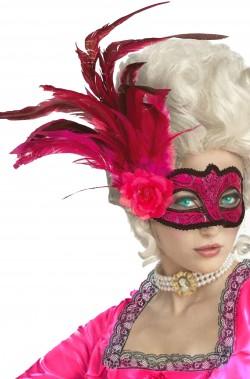 Maschera di carnevale veneziana rosa con piume