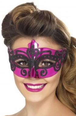 Maschera stile veneziano rosa con decorazione a brillantini