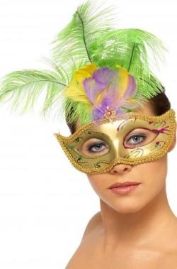 Maschera di carnevale veneziano color oro con piume verdi