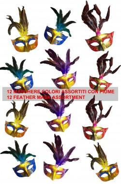 Assortimento maschere di carnevale veneziane con piume per festa 12 pezzi