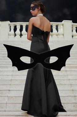 Maschera di carnevale nera domino pipistrello elegante