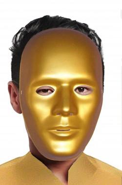 Maschera di carnevale oro da robot tutto viso