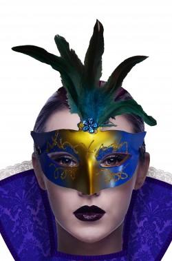 Maschera di carnevale economica blu e oro con piume