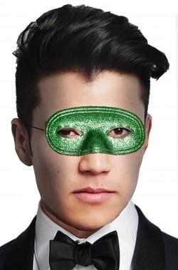 Maschera di carnevale economica verde da occhi glitter