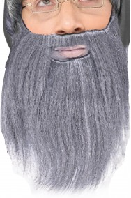 Barba finta grigia con baffi mago Gandalf