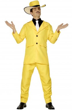 Vestito carnevale smoking giallo the mask jim carrey zoot suit