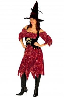 Vestito Halloween donna strega elegante bordeaux