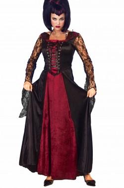 Vestito Halloween da vampira nero e rosso lungo