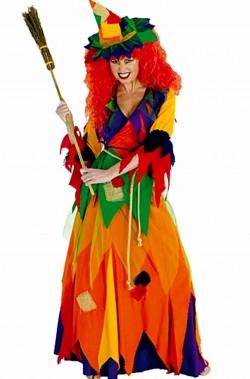 Vestito halloween donna  strega multicolore arcobaleno