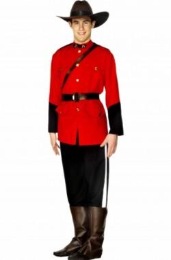 Vestito di carnevale uomo uniforme giubba rossa canadese