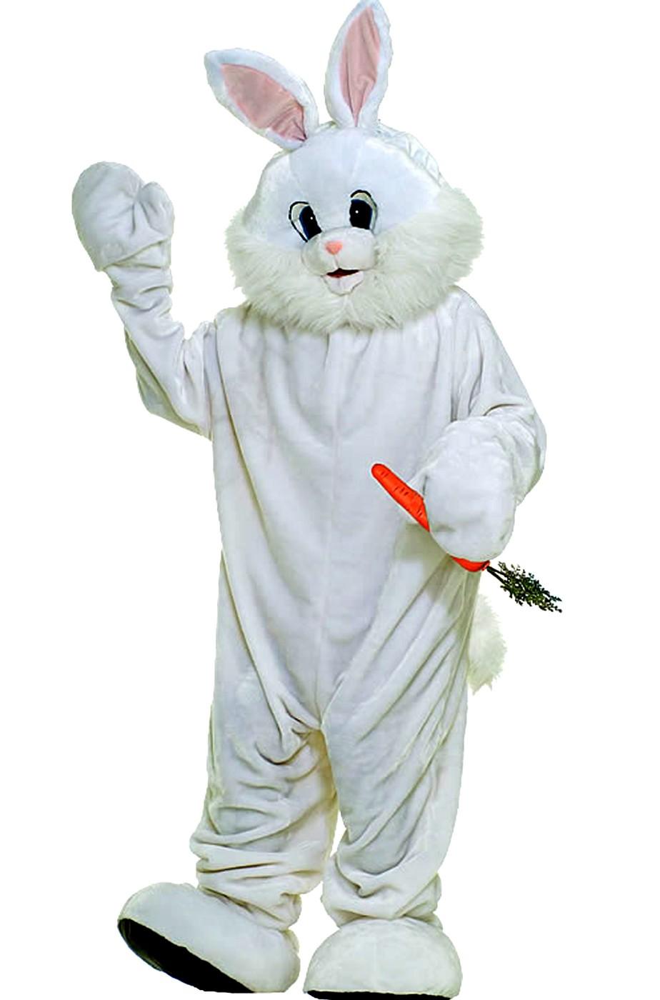 Mascotte coniglio bianco adulto costume di carnevale con testa
