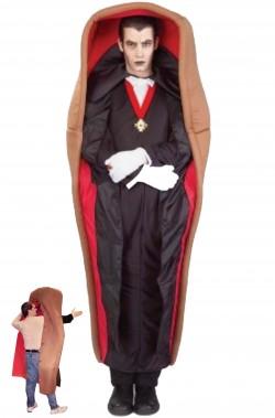 Vestito di Halloween adulto Dracula nella bara