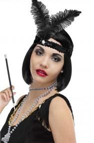 Kit anni 20 con piuma flapper nera, collana finte perle, bocchino