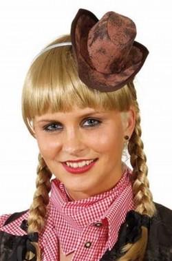 Mini cappello marrone da cowgirl o piratessa su cerchietto