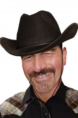 Cappello da cowboy nero con cordino