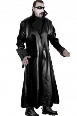 Cappotto nero lungo di pelle adulto dark