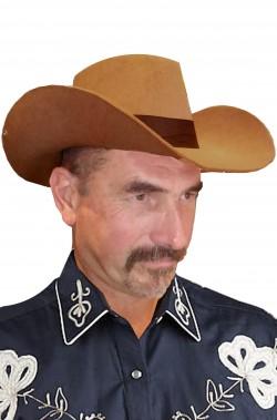Cappello cowboy marrone adulto tesa ripiegata