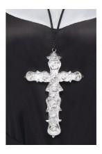 Croce decorata color argento in similmetallo