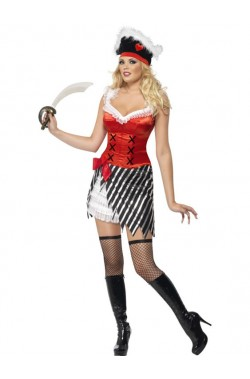 Costume donna Pirata adulta con gonna bianconera