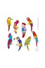 Uccelli tropicali adesivi lunghezza 45cm 8 pezzi