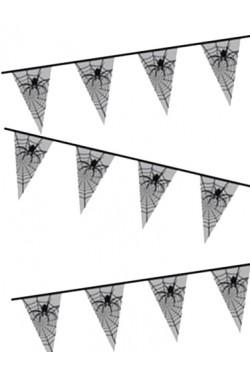 Allestimento Halloween striscione bandierine con ragnatela