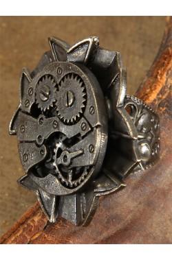 Anello steampunk in metallo a orologio antico