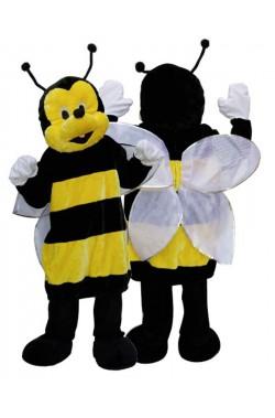 Mascotte da ape gialla e nera con testona adulto