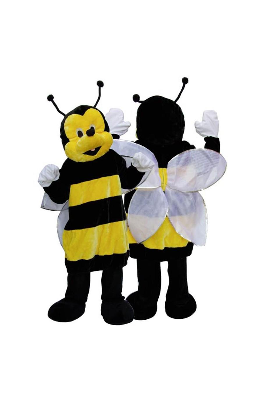 Costume mascotte da ape a righe gialle e nere adulto