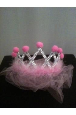 Corona principessa rosa con velo