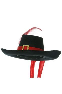 cappello moschettiere lusso nero e rosso con piuma