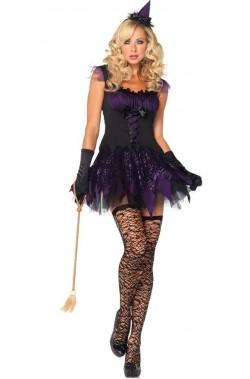 Costume da strega corto nero sexy elegante donna adulta