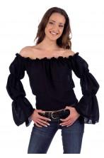 Camicia donna pirata nera 800 o strega maniche a sbuffo