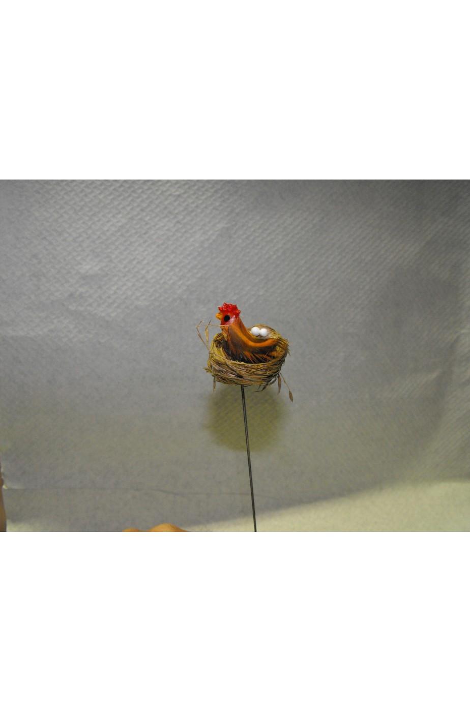 Ambientazione presepe:Nido Gallina con uova montato su filo di ferro
