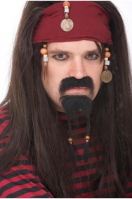 Trucco: Set barba e baffi da pirata lusso tipo Jack Sparrow