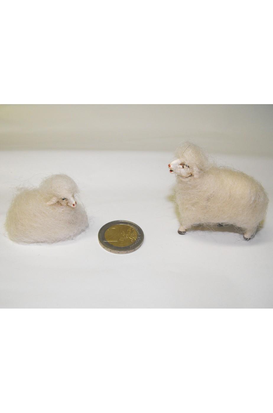 Accessori presepe pastore:Coppia Pecora e Agnello in lana vera avvolta a mano