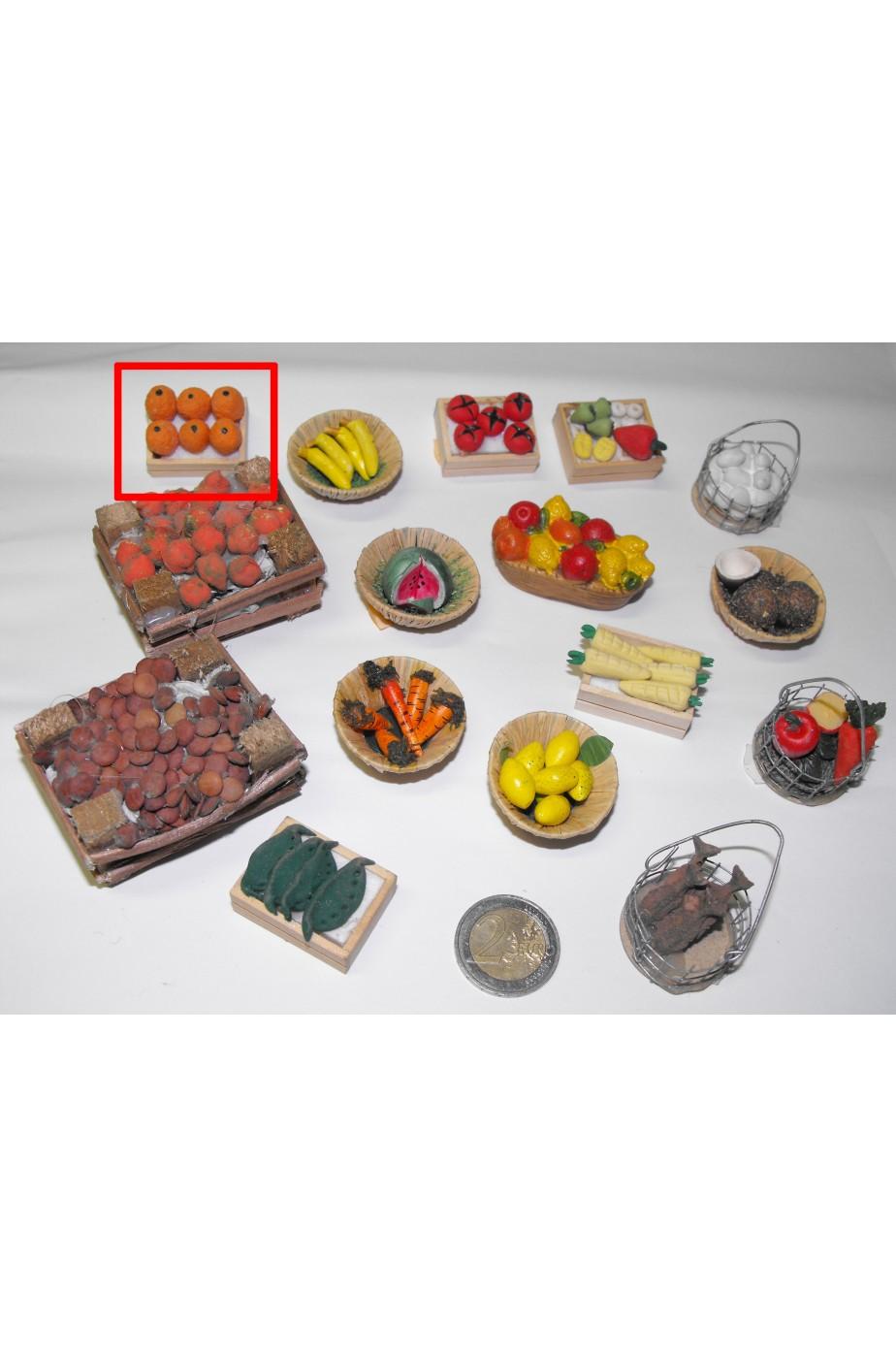 Accessori presepe fruttivendolo:cassetta di arance piccola realizzata a mano